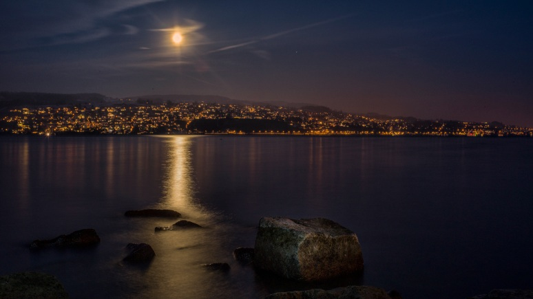 Moon over lake Zürich